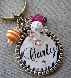 Sweet 16 keychain Zebra Personalized Name Silver by buttonit