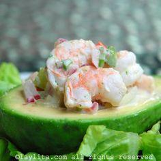 Salade d'avocats farcis de crevettes