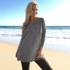 Relax Knit Jersey Top In Charcoal