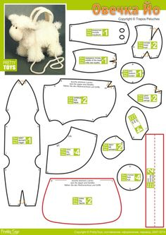 Translation says, This pattern will allow you to sew a bag of toys in the form of a lamb. Note that the trunk and abdomen, legs, tail, back of the ears, and middle of the head and the head Molds cut fur. Cheeks, snout, feet, as well as the inside of the ears - from fabric to match the fur. Do not forget about the lining, which is sewn with a zipper in the upper torso. There you need to sew a bag carrying handle, you can make a long strap to the bag can be worn on the shoulder.