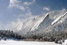 The Flatirons are rock formations near Boulder, Colorado. There are five large, numbered Flatirons ranging from north to south (First through Fifth, respectively) along the east slope of Green Mountain