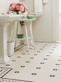 I REALLY like this floor!!  (http://www.froghilldesigns.net/blog/your-must-have-bathroom-tile/)