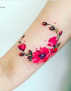 Tatouage Fleur En Couleur Tattoos Pinterest Tattoo And Tatoo