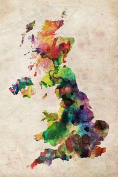 Love this Watercolour digital art map of the UK!