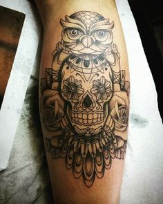 Owl Skull Tattoo Leg Calf Tattoo