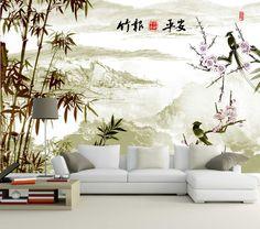 Papier peint chinois - Paysage avec les bambous et les oiseaux