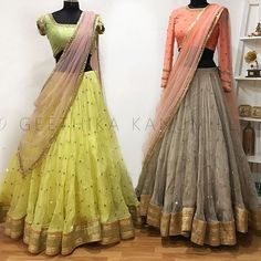 Stunning lime yellow color lehenga and pista green color blouse with lavender color net duptta. Another one gray color lehenga and peach color blouse with net dupatta. Lehenga and blouse with hand embroidery work. Lehenga Saree Design, Half Saree Lehenga, Lehnga Dress, Indian Lehenga, Lehenga Designs, Bridal Lehenga, Sarees, Lehenga Blouse, Mehndi Designs