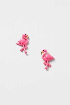 Pink flamingo stud earrings. #Topshop