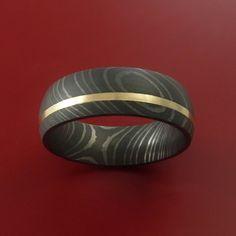 Damascus Steel 14K Yellow Gold Ring Wedding by StonebrookJewelry