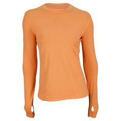 The bloqUV Women's 24/7 Long Sleeve Tennis Crew Tangerine isn't just the most comfortable shirt you'll ever own, it also protects you the most, blocking 98% of the sun's rays!