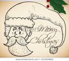 Cute retro design of Santa Claus face with a long hat in hand drawn style over scroll with some holly leaves to celebrate Christmas. Holly Leaf, Christmas Illustration, Retro Design, Hand Drawn, How To Draw Hands, Merry Christmas, Santa, Leaves, Face