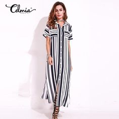 Casual Striped Long Shirt Dresses With Belt Summer Blouse Cardigan Retro Women Short Sleeve Split Belted Chiffon Maxi Dress