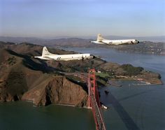 aircraft from a US Navy squadron fly over the Golden Gate bridge on their way back to their home base at Naval Air Station Moffett Field. I was assigned to Moffett Field as a structural mechanic for this type of aircraft after joining the Navy. Navy Day, Go Navy, Navy Girl, Uss Hancock, Navy Military, United States Navy, Military Aircraft, Golden Gate Bridge, Air Force