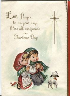 Vintage Christmas Card Children Praying with Lamb and Robin   eBay