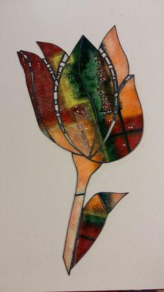 Tulipán-spekané sklo fjuzing spájané s vitrážou