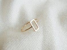 Elegant Art Deco Stylish Rectangle Minimalist Gold Ring by Olalajama by Olalajama on Etsy