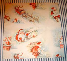 6 Partial Sheets c. 1950 Christmas Wrapping Paper | eBay
