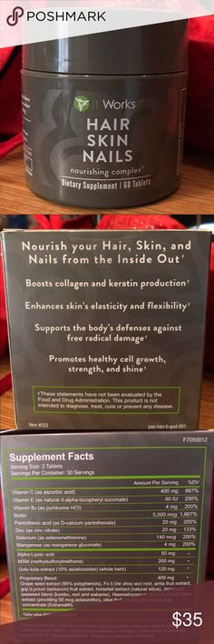 ItWorks! HSN Vitamins Unopened ItWorks! Hair skin nails Vitamins  1 retails at $55  1 for $35 or 2 for $45 I have one still in the box and one out of the box but hasn't been opened! The seal is still on! Other