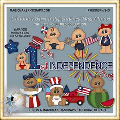 4th of July Baby Clipart Chubbies First Independence Day
