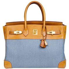 Hermès Birkin 35 Denim Canvas ❤ liked on Polyvore featuring bags, handbags, blue bag, blue purse, denim hand bags, canvas purse and denim handbags