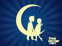 Romance and love vector graphics of a couple. Silhouettes of a man and woman sitting on a paper moon. Thin crescent moon, woman with waving hair and man holding hands. Free vector graphics for your Valentine's Day greeting cards, romantic posters, flyers and wedding invitations. Paper Moon Graphics by DG for FreeVector.com