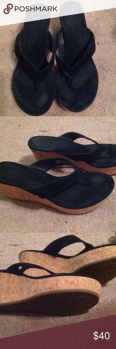 Black UGG flip flops Black UGG flip flops size 9. Worn once but not at all worn out UGG Shoes Wedges