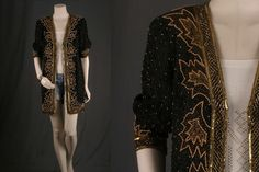 Black sequinned jacket gold kimono caftan duster by sparrowlyn, $74.00