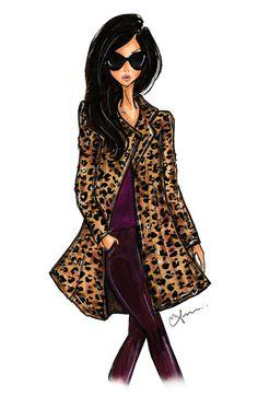 Fashion Illustration Print Leopard Coat por anumt en Etsy