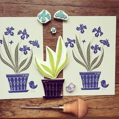 """More prints with my new iris stamps . #viktoriaastrom #picoftheday #design #flowers #flower #iris #rubberstamp #carving #craft #draw #design #blockprint…"""