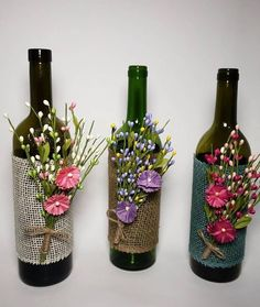 decoration for home Items similar to Custom hand painted/designed decorative wine bottle for centerpieces in home decor, vases, or to an extra touch of color in the room. on Etsy Glass Bottle Crafts, Wine Bottle Art, Painted Wine Bottles, Diy Bottle, Glass Bottles, Bottle Vase, Beer Bottle, Home Decor Vases, Wine Decor