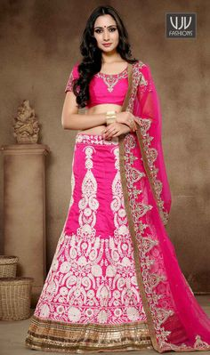 Pleasing Art Silk Hand Work Work Lehenga Choli Sensible colors and excellent designs and romantic moods are reflected with an alluring style. Looking amazing with attachment of hot pink art silk lehenga choli. The lovely hand work and patch border work throughout the attire is awe inspiring