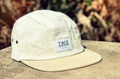 The Worlds Original Face  TWO Face London3rd Edition 5 panel cap, hat- Cream cotton paisley   - Cream corduroy peak- Tan leather strap with gold  buckleSupreme condition, only the best quality