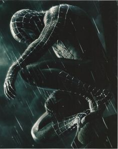 Spider-man Tobey Maguire in full black uniform in the rain 8x10 Photo @ niftywarehouse.com