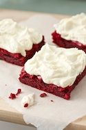 Red Velvet Brownies w/ White Chocolate Frosting - sounds soooo good!