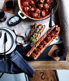 Baked pork and veal meatball sub :: Gourmet Traveller Magazine Mobile