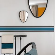 """Easy to install, the frieze which takes again the icons """"stripes"""" of Sarah Lavoine, gives you the opportunity to reinvent your interior in 15 min. Half Painted Walls, Bedroom Minimalist, Spa Hotel, Retro Stil, Decorative Trim, Apartment Design, Decoration, Living Room Decor, Furniture Design"""