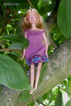 Puppenkleidung - Kleid mit Borte ** für Barbie ** lila/violett - ein…