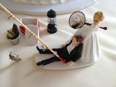 50+ Funniest Wedding Cake Toppers That'll Make You Smile  ... - You cannot think of your Big day without a wedding cake. Now, while choosing the layout of the wedding cake, who has given this oath that it should be... -  Gone Fishing wedding cake toppers (3) ~♥~ ...SEE More :└▶ └▶ http://www.pouted.com/top-10-funniest-wedding-cakes/