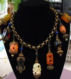 RARE antique chinese charm necklace Haskell by terrasouljewelry