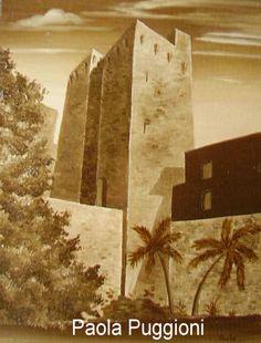 """San Pancrazio Tower in Cagliari   oil on canvas panel  30"""" x 40"""""""