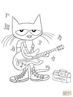 Top 20 Free Printable Pete The Cat Coloring Pages Online | Pinterest ...