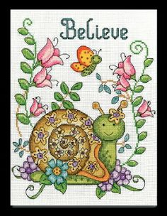 Design Works Believe Snail beaded counted cross stitch picture kit
