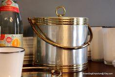 Vintage gold and silver ice bucket // retro bar decor // Mad Men bar ware