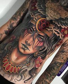 Tattoo Skin, Chest Tattoo, I Tattoo, Torso Tattoos, Hot Tattoos, Grim Reaper Tattoo, Full Back Tattoos, Colour Tattoo, Neo Traditional Tattoo