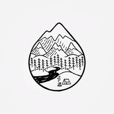 Camping in the mountains chinese ink / pen pequenos desenhos Small Drawings, Easy Drawings, Campfire Drawing, Line Art, Camping Desserts, Artist Pens, Doodle Art, Art Sketches, Illustration
