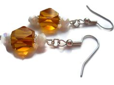 Amber Glass Earrings White Earrings Bridal by chicagolandia, $14.00
