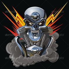 Vector Metall Skull with Engine #GraphicRiver metal skull with engine. Available…