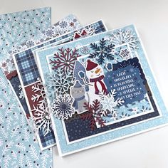"""Beautiful Winter cards by Dorymar Perez for featuring the """"My Favorite Winter"""" collection Scrapbook Page Layouts, Scrapbook Cards, Echo Park Paper, Winter Cards, Winter Collection, Interior Ideas, Handmade Cards, Card Ideas, Christmas Cards"""