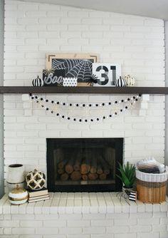 Black & White Halloween Mantel - thecraftedsparrow.com