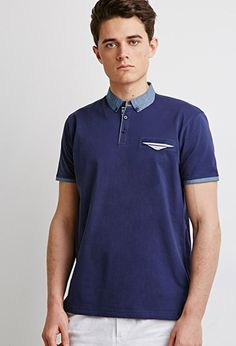 Chambray-Trimmed Polo | 21 MEN - 2000078105